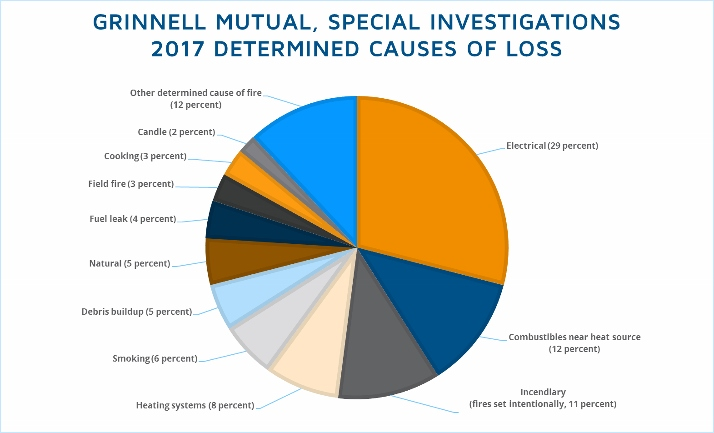 Pie chart showing causes of loss in 2017, as determined by the Special Investigations group
